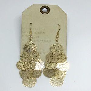 NWT Anthropologie Gold Tassels Hook Earrings